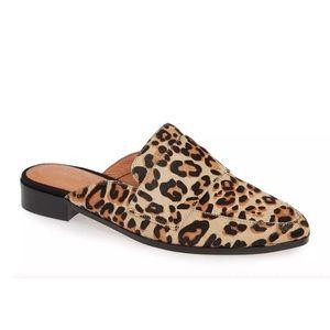 New Halogen Leopard Violet Calf Hair Mules